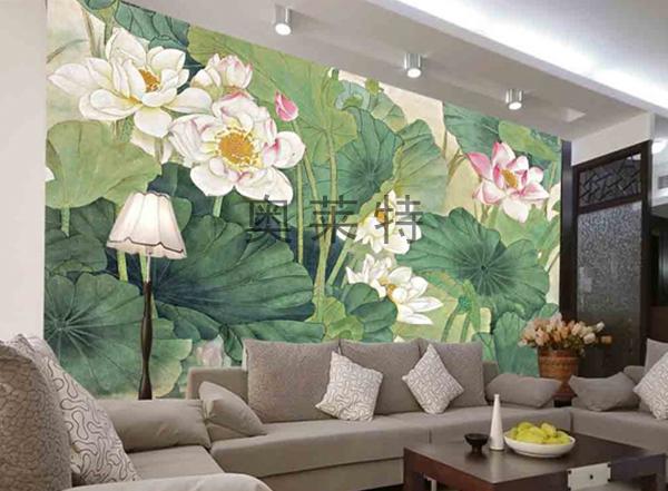 客厅荷花壁画