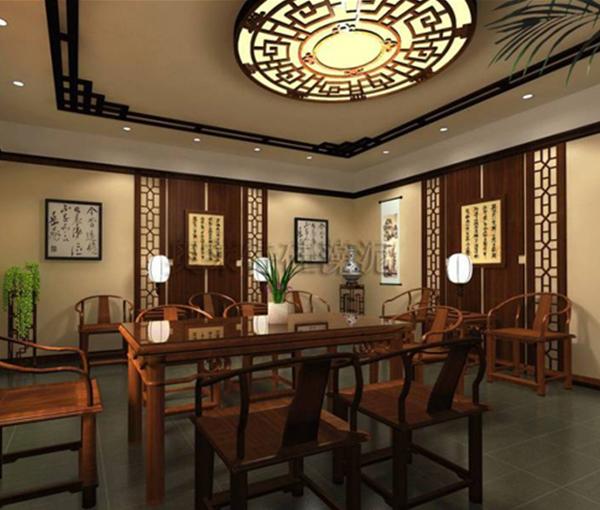 中式硅藻泥餐厅背景墙装修