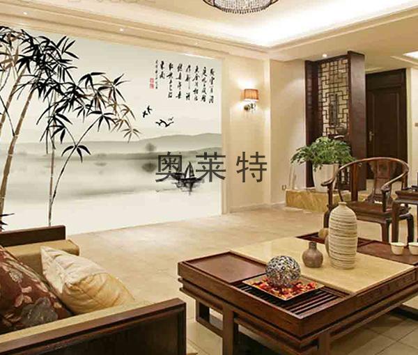 中式古典书房背景墙