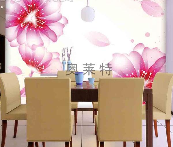 梦幻花卉餐厅背景墙