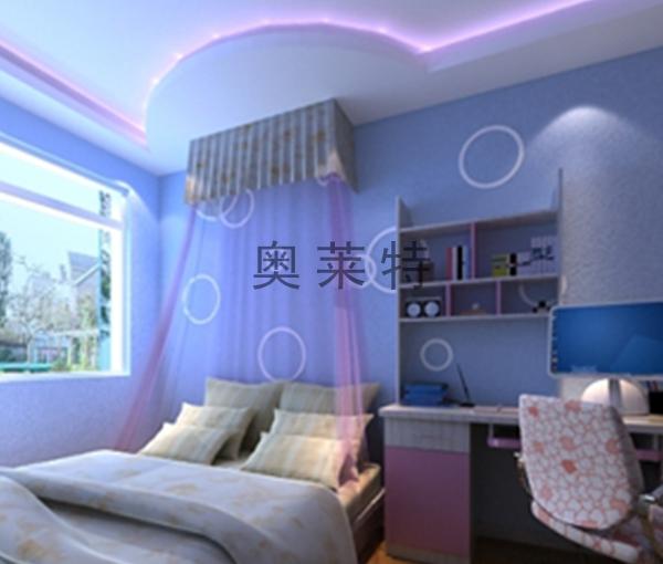 女孩子卧室硅藻泥背景墙装修